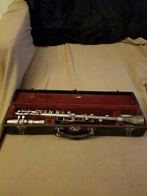Vintage Silver plate Pedler Elkhart clarinet, woodwind, with original case
