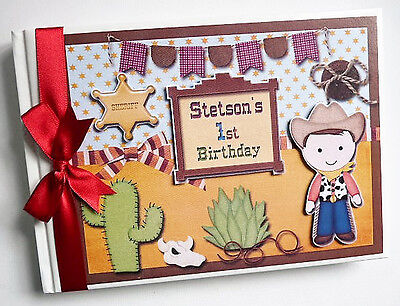 Personalised Cowboy/cowgirl /first/1St Birthday Guest Book - Any Design