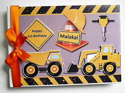 Personalised Trucks & Diggers /first/1St Birthday Guest Book Any Design
