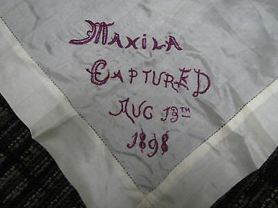 Antique 1898 Embroidered Silk Scarf American 29 Star Flag Captured Memorial