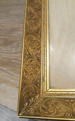 "HEAVY Vintage Antique Brass Etched Ornate Picture Frame With Glass - 8"" x 10"""