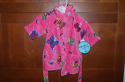 BATH ROBE Terry Coverup Size L (7) Girl BUTTERFLIES NWT