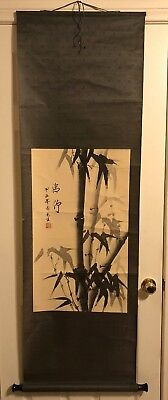 Preowned  Asian / Chinese Watercolor Painting Scroll  Signed