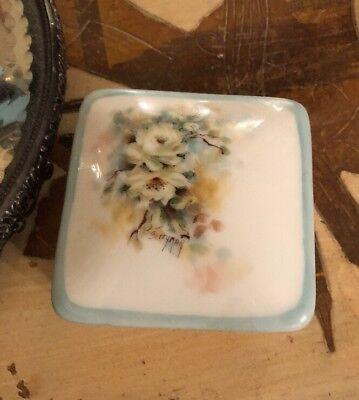 Vintage French Giraud LIMOGES Hand Painted Porcelain Trinket Box Cabbage Roses