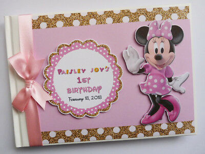 Personalised Disney Minnie Mouse Birthday Guest Book - Any Design
