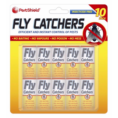 10x STICKY FLY INSECT CATCHER PAPER Killer Trap Strip Pest Bug Wasp Swatter