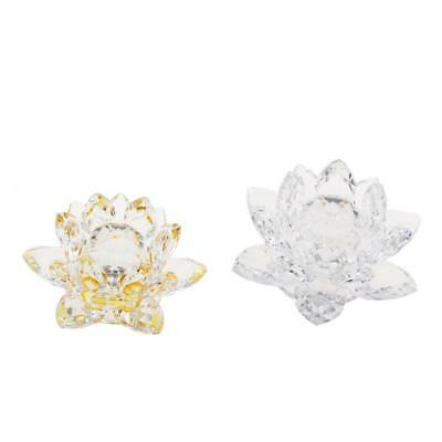 Crystal Lotus Flowers Crafts Buddhist Feng Shui Ornaments Clear & Yellow