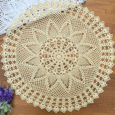 Ecru Vintage Hand Crochet Tablecloth Round Lace Table Topper 23inch Floral