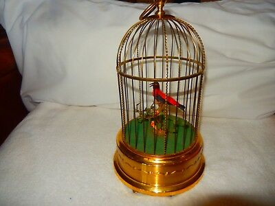 LARGE Reuge Style  GERMAN Made Singing Automaton RED Bird Cage Music Box  $895