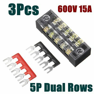 5 Ground Circuit Terminal Blocks Dual Row 5 Position Screw Terminal Strip 15A