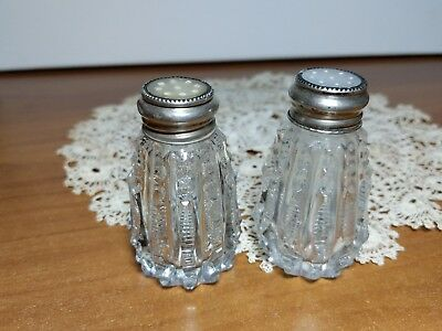 Antique Cut Glass Crystal Sterling MOP Salt & Pepper Shaker Set