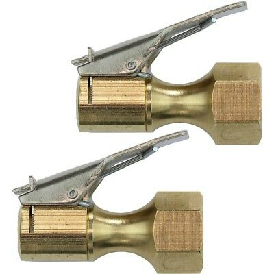 2 Pack Closed Type Flow Straight Lock-On Air Chuck with Clip for Tire Inflator