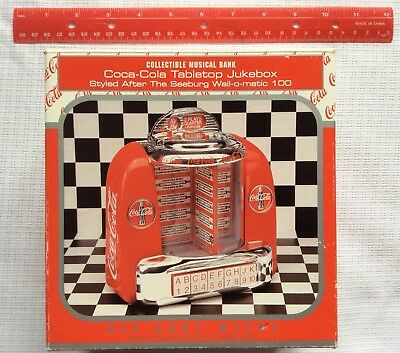 Enesco Coca-Cola Tabletop Jukebox Musical Bank Seeburg Well-o-matic 100 Style