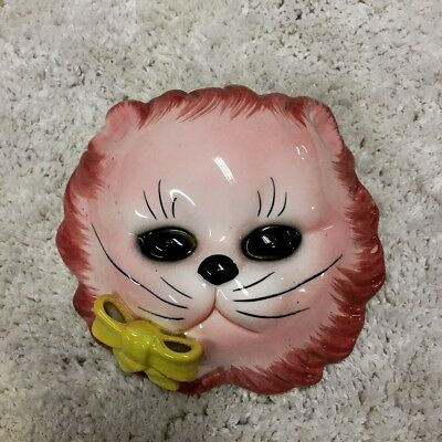 Vintage Lefton Pink Cat Ceramic Wall Vase Wall Pocket