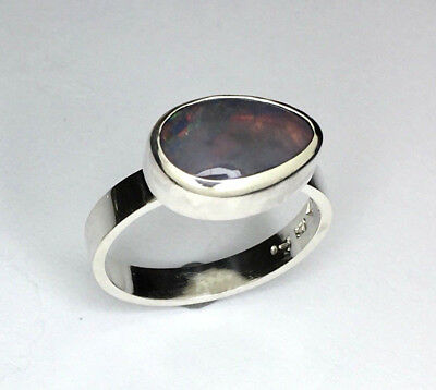 Handmade opal Silver Ring, 2.38 carats Genuine solid Lightning ridge Opal