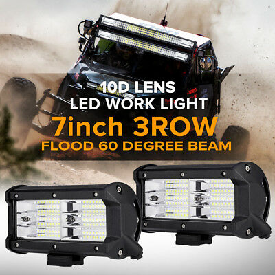 2x 7inch 648W PHILIPS LED Work Light Bar FLOOD Offroad Reverse Boat Lamp Fog 6""
