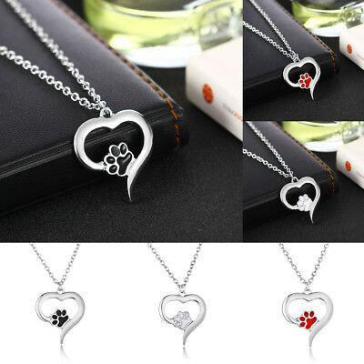Hot 925 Silver Lovely Pet Paw Heart Dog Cat Puppy Pendant Necklace Jewelry Gift