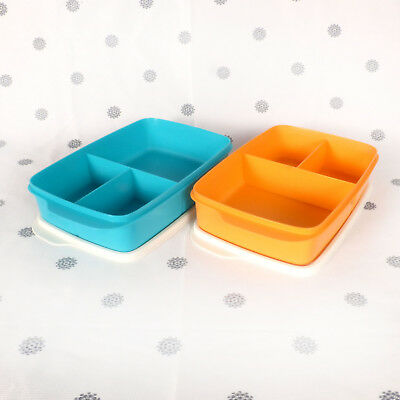 NEW Tupperware Large Divided Lunch Box Orange or Blue Sandwich Keeper