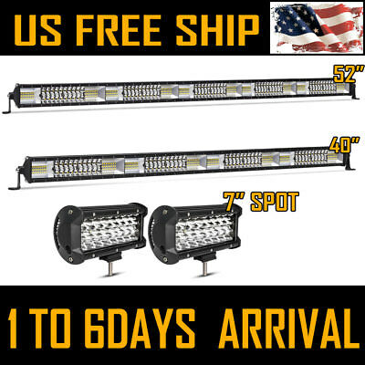 """52Inch LED Light Bar + 40"""" + 2X 7"""" CREE Pods COMBO OFFROAD SUV 4WD ATV Ford Jeep"""