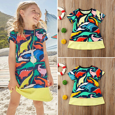 UK Cute Kids Baby Girls Cotton Animal Dinosaur Short Sleeve Dress Clothes Summer