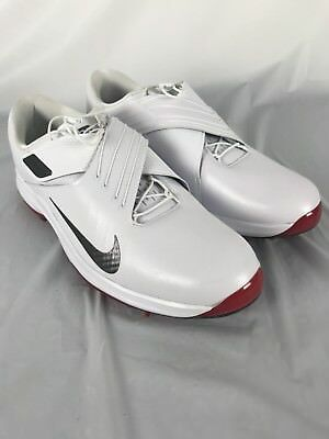 New Nike TW 17 Golf Shoes 880955 100 White Red Dark Grey Tiger Woods Sz 11.5 8e0cc9374
