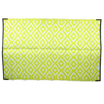 RECYCLED Plastic Outdoor Rug   DIAMOND Design, Rectangle in Yellow & White