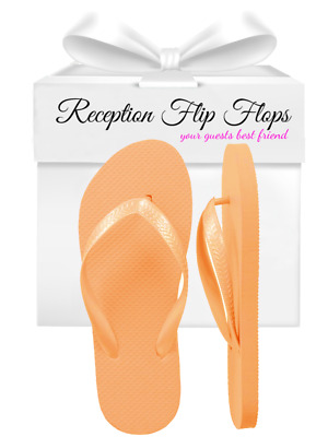 Womens Wholesale Bulk Wedding Guest Flip Flops, Peach, 24 Pairs Assorted Sizes