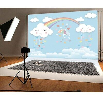 7x5ft Rainbow Smile Clouds Photo Backgrounds Cartoon Baby Photography Backdrops