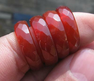 wholesale 4 pcs Chinese  natural red jade machining carved  ring size7.5-8