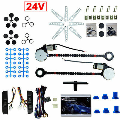 Universal Electric Power Window Kit for 24V Vehicles Van 2 Doors Conversion Kit!