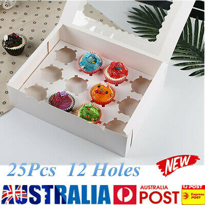 25pcs 12 Holes Paper Muffin Cupcake Box Wedding Favors Packing Gift Holder White