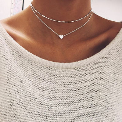 Silver&Gold Plated 2 Double Layer Beaded Chain Choker Necklace Heart Pendant