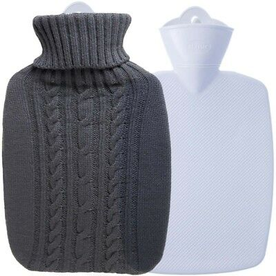 Hugo Frosch Hot Water Bottle With Luxury Knitted Cover Graphite 1.8L