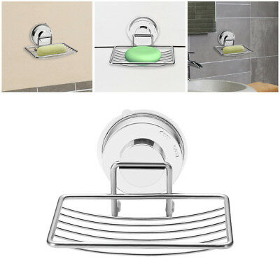 Shower Storage Rack Suction Cup Drain Tray Holder Soap Dish Stainless Steel
