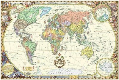 antique style world wall map wall map laminated illustrated world map map