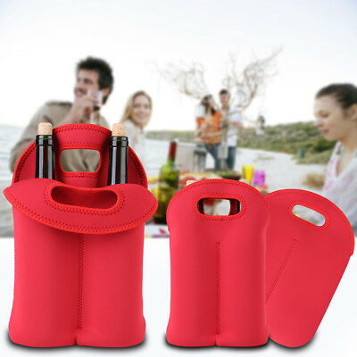 Red Insulated Neoprene Wine/Champagne/Beer Two Bottle Cooler Tote Bag Carrier JS