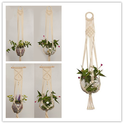 Pot Holder Macrame Plant Hanger Hang Planter Basket Jute Rope Braided Craft USA