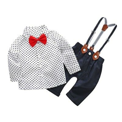 Kid Baby Boys Gentleman Clothes Set T-shirt Tops+Bow Tie+Suspender Pants Outfits