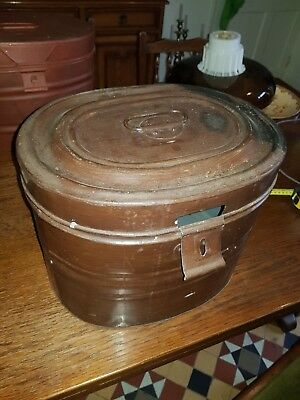 Large Antique Victorian Metal Hat Box - Original Patina