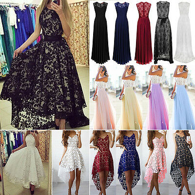AU Womens Lace Long Dress Evening Party Gown Prom Wedding Bridesmaid Sundress