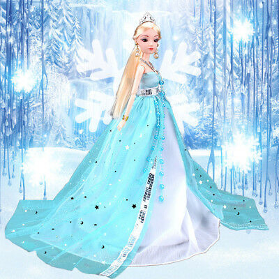 Princess Wedding Dress Party Gown for Ice Princess Barbie Doll Outfit Best Gift