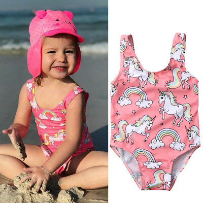 UK Newborn Baby Girl Swimsuit Unicorn Swimwear Swimming One-piece Bikini Costume