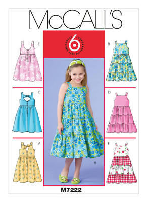 McCall's Sewing Pattern 7222 M7222  Girls 2-5 Easy Dresses Pinafores 6 Styles