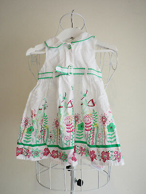 """""""Pumpkin Patch"""" Size 2-Gorgeous Girls White, Red, Green Dress. Perfect! Bargain!"""