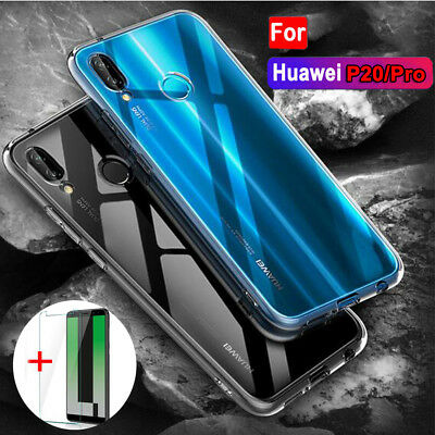 For Huawei P20 Pro Lite 360° Protection Clear Case Cover+9H Temper Glass Films