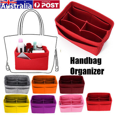 AU 7 Colors Felt Fabric Purse Handbag Organizer MultiPocket Insert Storage Bag