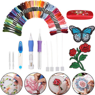 Embroidery Pen Punch Needle Tool Magic Stitching Scissors Kit Needle+50 Threads
