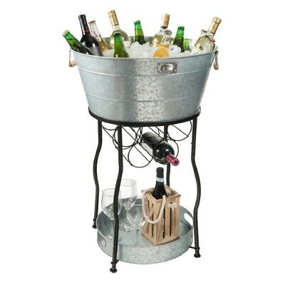 Outdoor Patio Deck Beverage Drink Cooler Tub Ice Bucket With Stand And Wine Rack