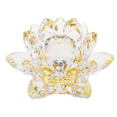 Bling Crystal Lotus Flower Model Glass Craft Home Tabletop Decoration Yellow