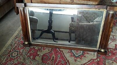 antique georgian silvered aged overmantle mirror